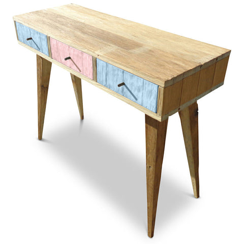 """Once Upon A Queenslander"" Eco Recycled Retro Hall Table / Console / Dressing Table / Desk in Powder Blue & Blush Pink"