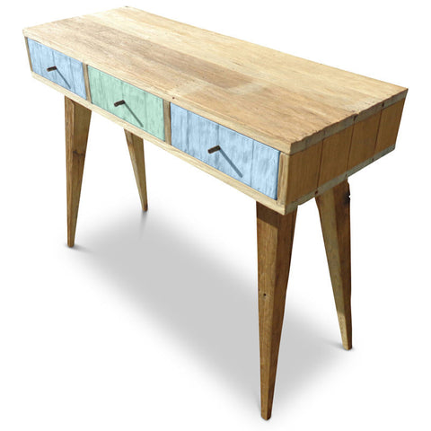 """Once Upon A Queenslander"" Eco Recycled Retro Hall Table / Console / Dressing Table / Desk in Blue & Mint"