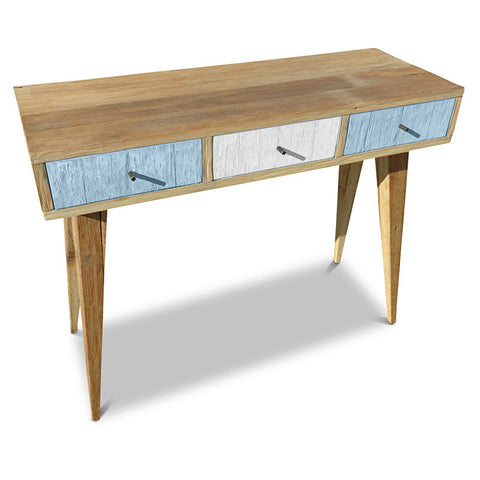 """Once Upon A Queenslander"" Eco Recycled Retro Hall Table / Console / Dressing Table / Desk in Powder Blue & White"