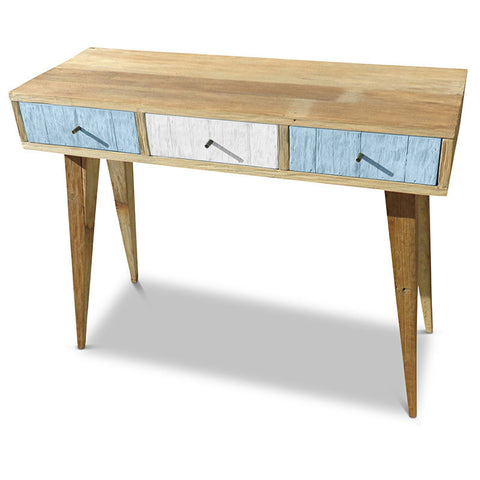 """Once Upon A Queenslander"" Eco Recycled Retro Hall Table / Console / Dressing Table / Desk in Blue & White"