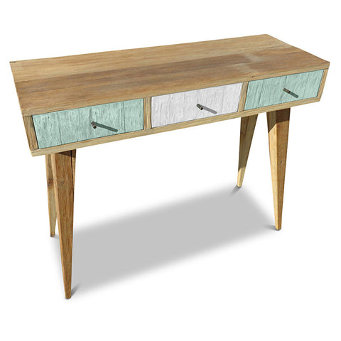 """Once Upon A Queenslander"" Eco Recycled Retro Hall Table / Console / Dressing Table / Desk in Mint & White"