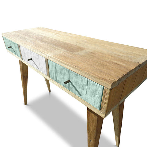 """Once Upon A Queenslander"" Eco Recycled Retro Hall Table / Console / Dressing Table / Desk in Teal Green & White"