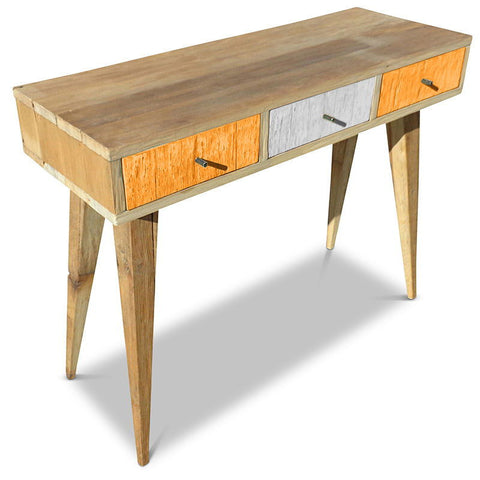 """Once Upon A Queenslander"" Eco Recycled Retro Hall Table / Console / Dressing Table / Desk in Orange & White"