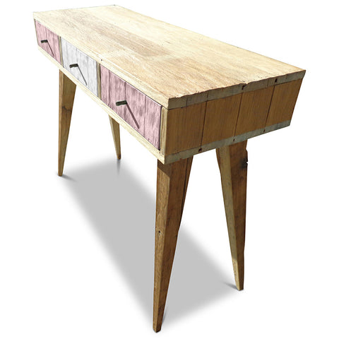 """Once Upon A Queenslander"" Eco Recycled Retro Hall Table / Console / Dressing Table / Desk in Blush Pink & White"