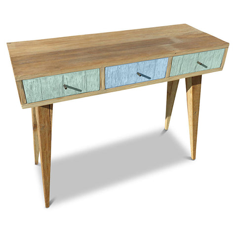 """Once Upon A Queenslander"" Eco Recycled Retro Hall Table / Console / Dressing Table / Desk in Mint & Blue"