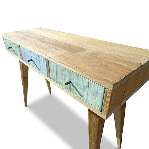 """Once Upon A Queenslander"" Eco Recycled Retro Hall Table / Console / Dressing Table / Desk in Teal Green & Powder Blue"