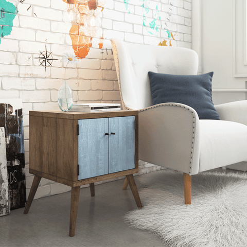 Retro Modern Mid Century Eco Recycled Bedside Table in Powder Blue