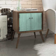 Retro Modern Mid Century Eco Recycled Bedside Table in Teal Green