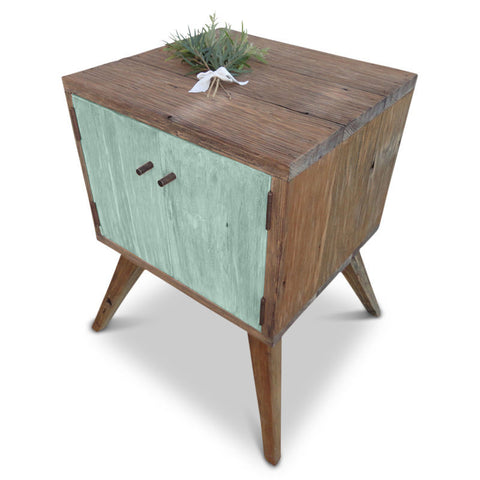 """Once Upon A Queenslander"" Handmade Recycled Solid Timber Retro Vintage Wooden Bedside   Table with Door in Teal / Pastel Green"