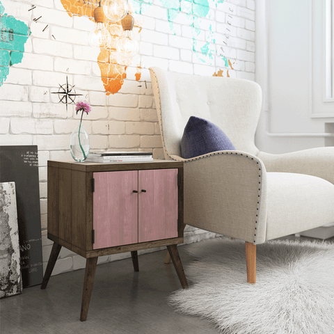 Retro Modern Mid Century Eco Recycled Bedside Table in Blush Pink