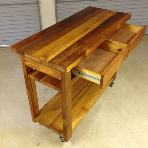 Industrial Recycled Retro High Bench Table in Natural with Drawers, Shelves, & Wheels