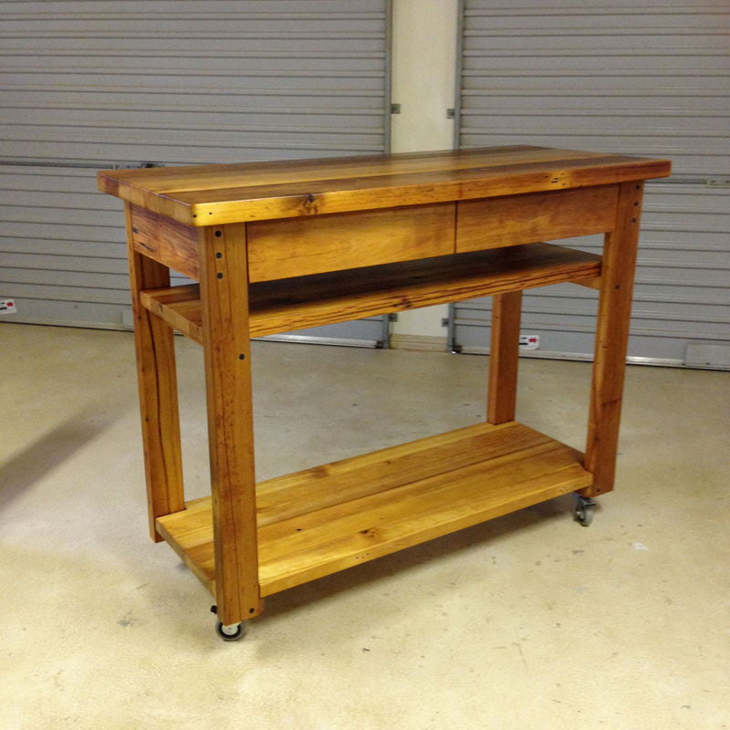 Mobile Wooden High Bench Bar Table W Drawers And Shelves Ghify