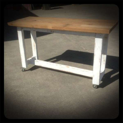 """Once Upon A Queenslander"" Eco Recycled High Bench Table in White & Timber with Wheels"