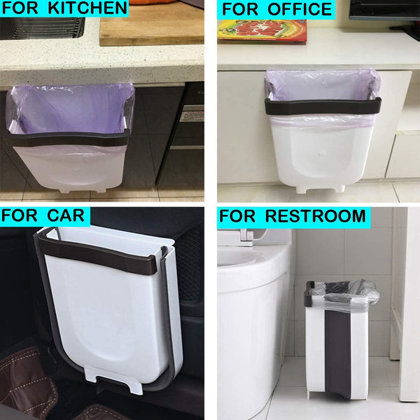 Foldable Hanging Trash Can Wall Mounted Waste Bin