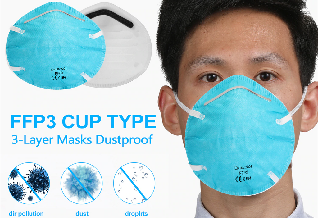 FFP3 3-Layer White and Blue Face Protective mask Cup Type