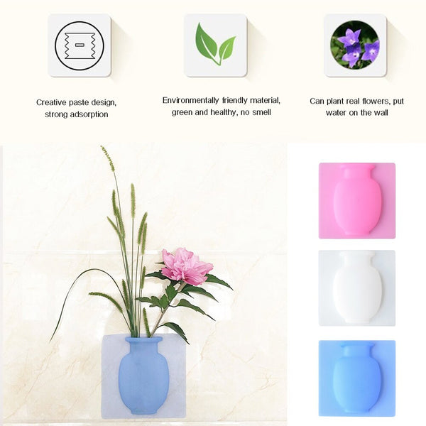 Magic Silicone Sticky Vase Rubber Vases Decoration Home