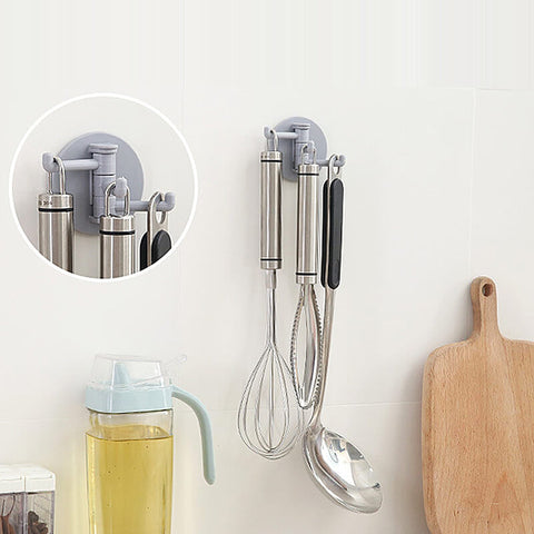Nail-free Traceless 3 Branches Rotating Hook for Kitchen&bathroom Wall Hanging