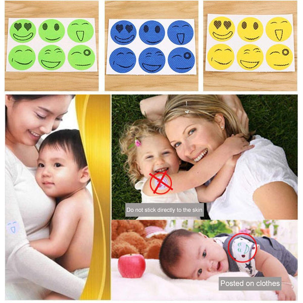 Natural Mosquito Repellent Stickers Cartoon Smiling Face