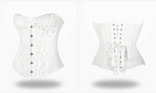 buy Overbust Lace Mesh white Corset