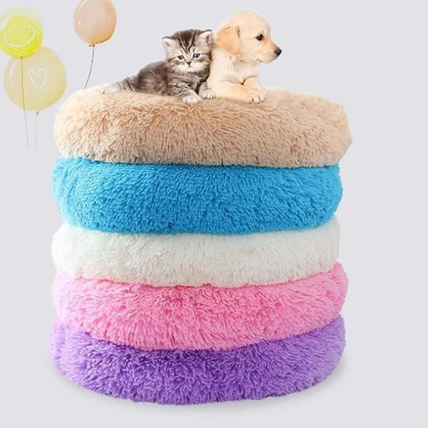 High Stretch Soft Plush Dog and Cat Bed Round Shape