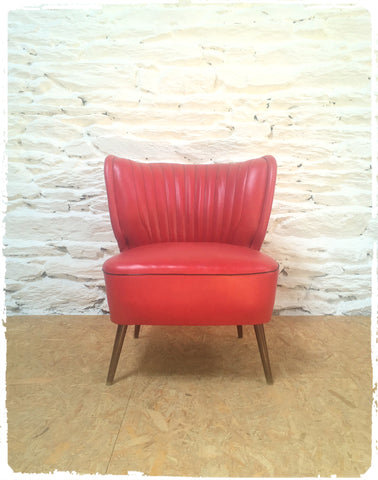 Fauteuil Cocktail Vintage Simili Cuir Rouge
