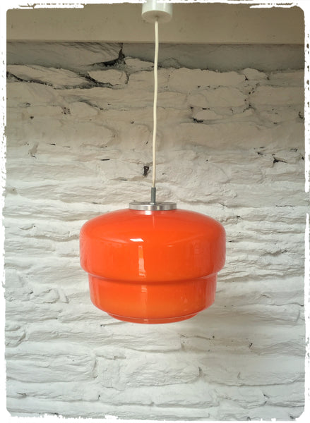 Grande Suspension Vintage Opaline Orange Années 70