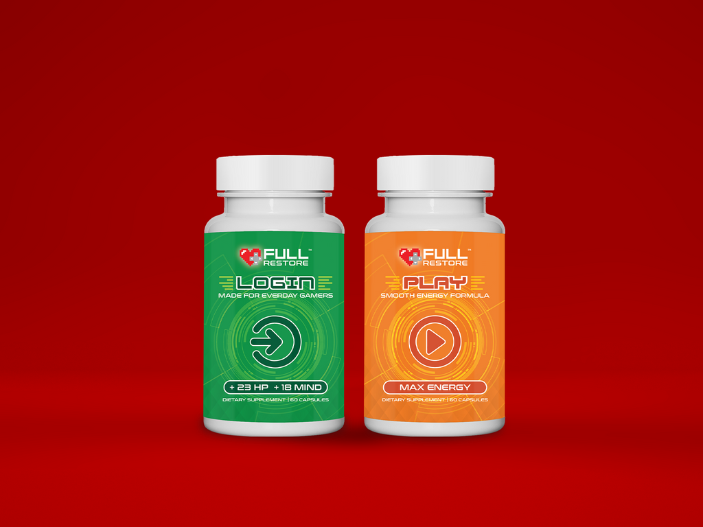 login and play duo partner with caffeine for energy, multi-vitamin for focus and concentration