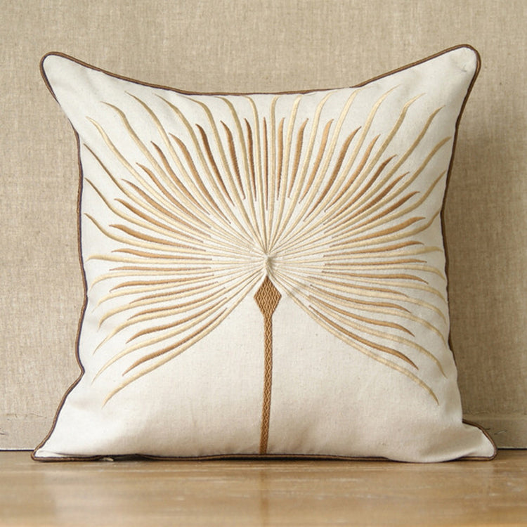 Fan Palm Embroidered Cushion Cover