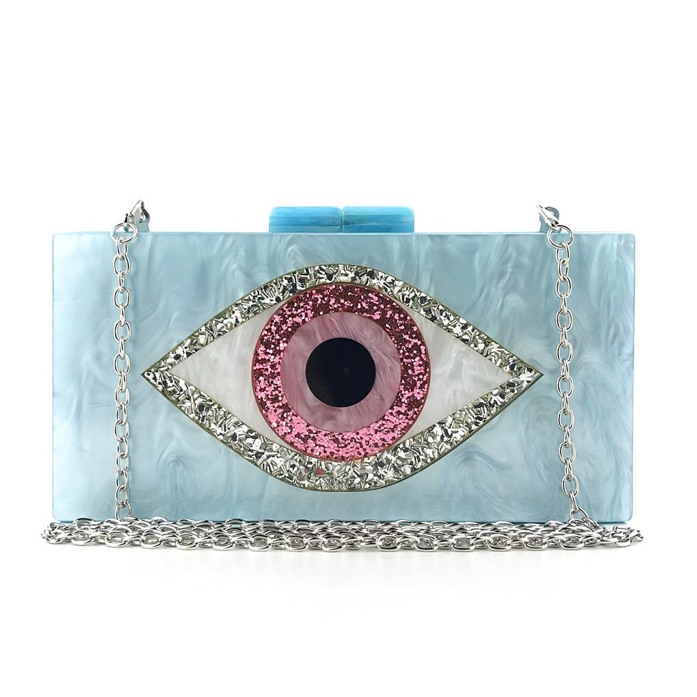 Evil Eye Clutch - Ice Blue