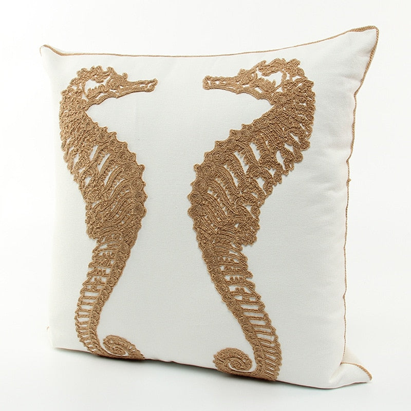 Sea Horse Embroidered Cushion Cover