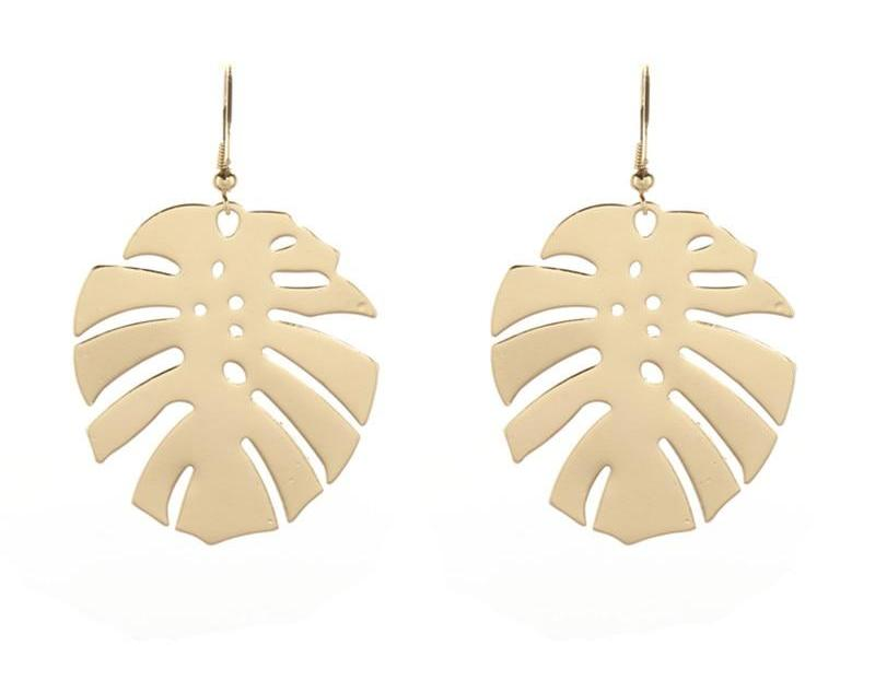 Monstera Gold Earrings