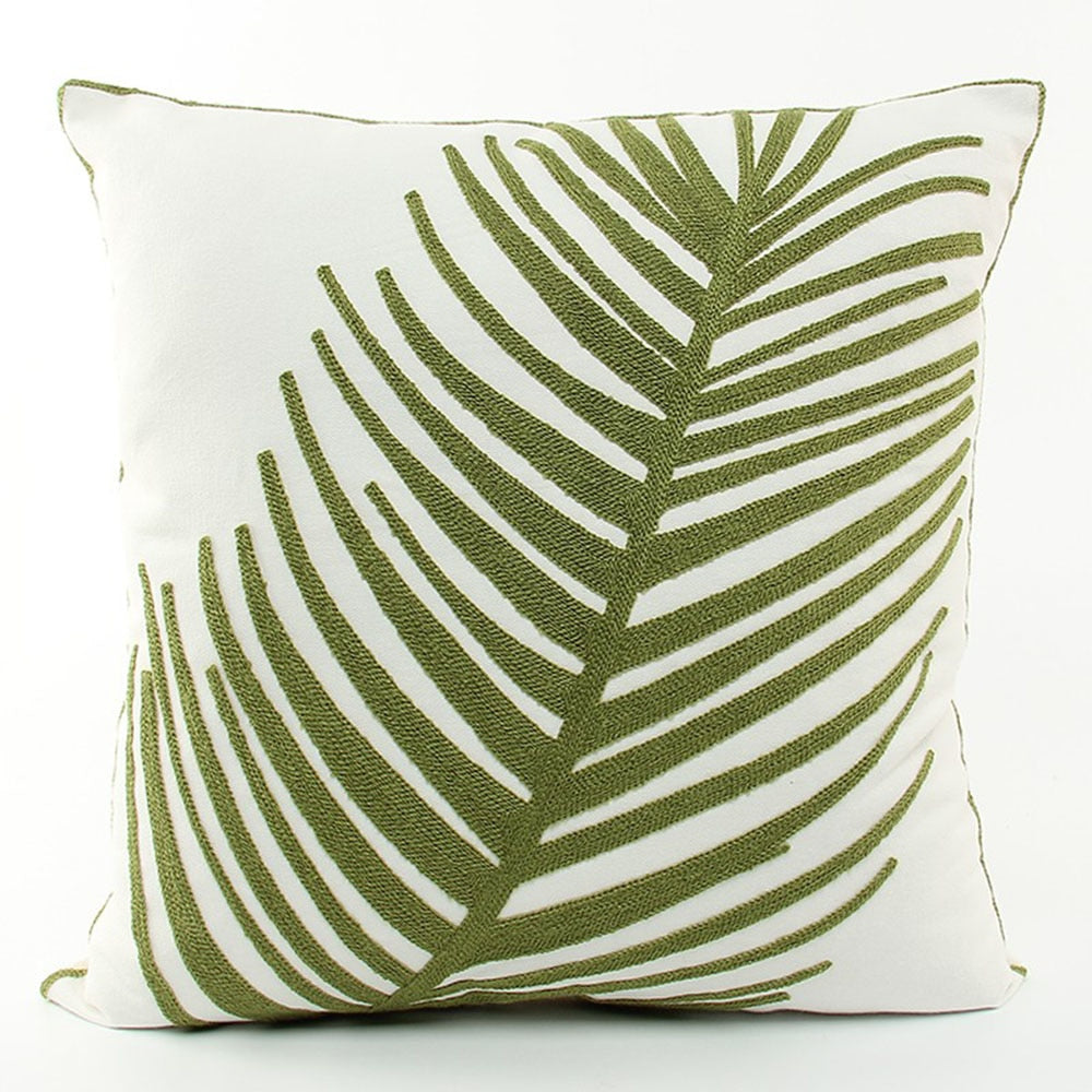 Frond Embroidered Cushion Cover