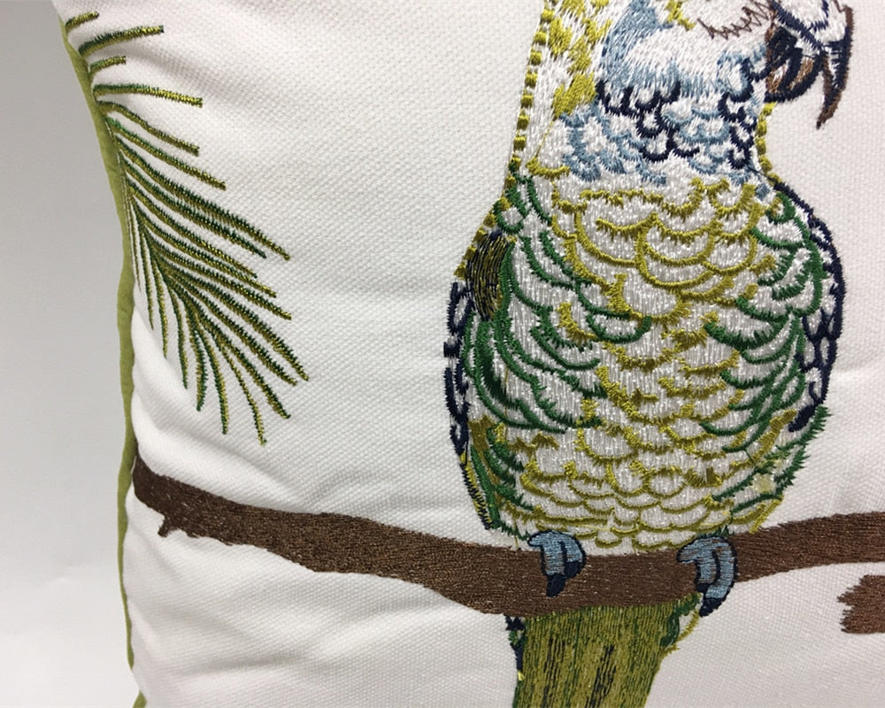 Parrot Embroidered Cushion Cover