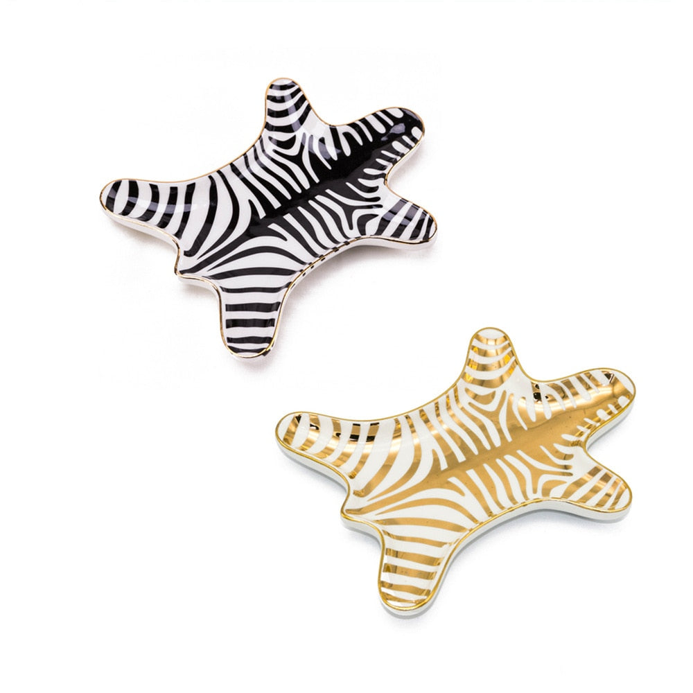 Zebra Hide Ceramic Tray