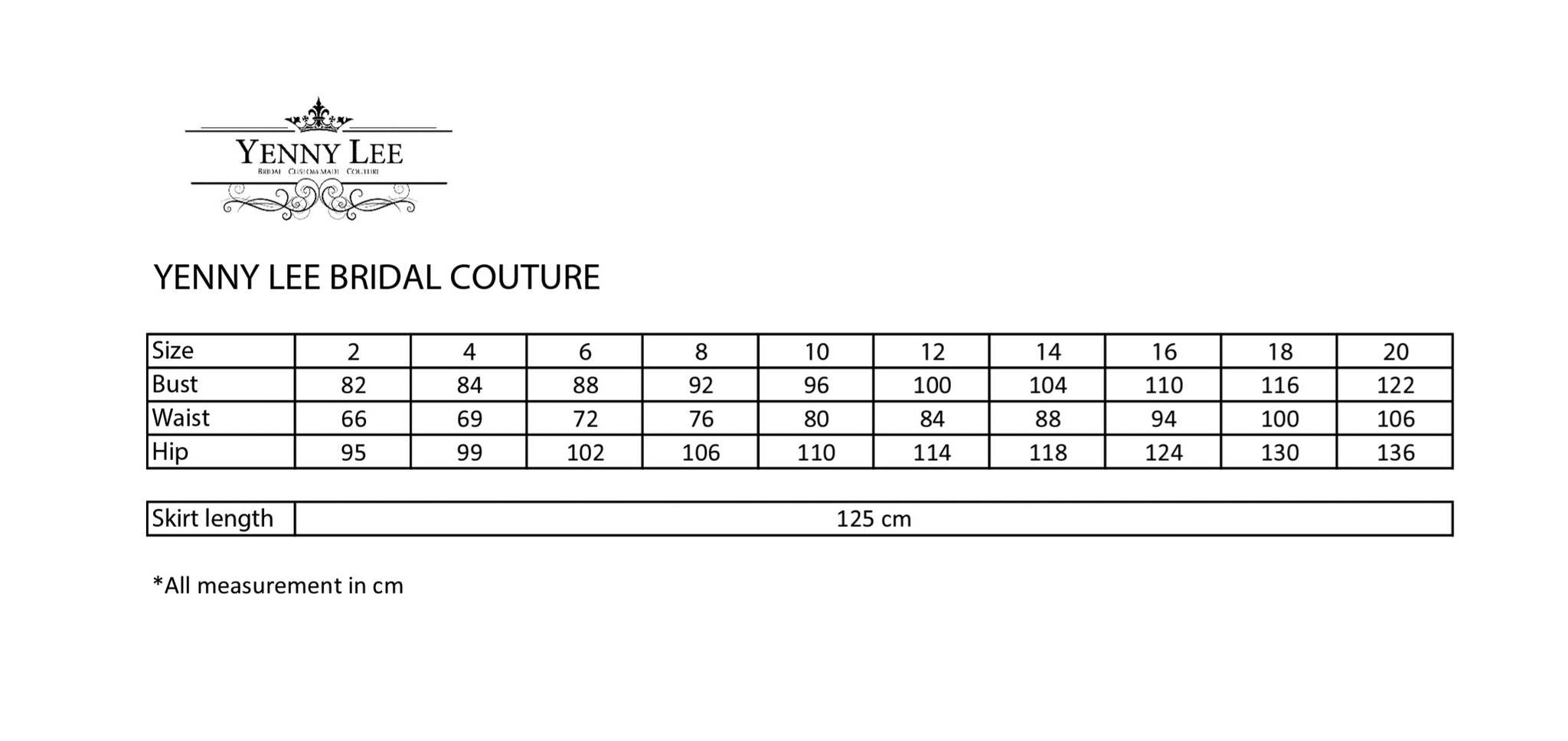 size chart - how to find your size - yenny lee bridal couture
