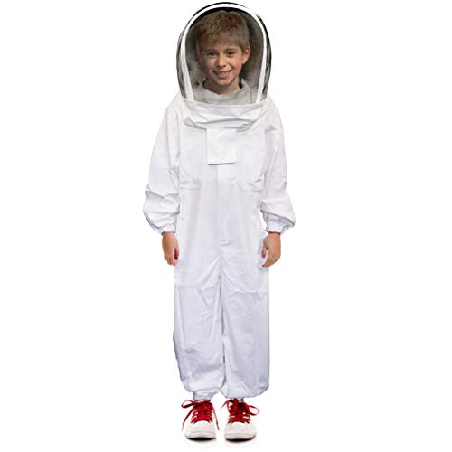 Luwint Kids Full Body Ventilated Beekeeping Suits - Cotton Bee Beekeeper Suit with Self Supporting Fencing Veil Hood for Children (White/4.9ft Height)