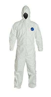 DuPont Tyvek Disposable Protective Coverall with Respirator-Fit Hood and Elastic Cuff, White, X-Large (Pack of 6)