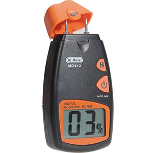Dr.meter Digital Portable Wood Water Moisture Tester, Digital LCD Display with 2 Spare Sensor Pins and one 9V Battery