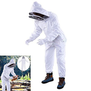 OULII Full Body Beekeeping Suit with Veil Hood Size XXL (White)