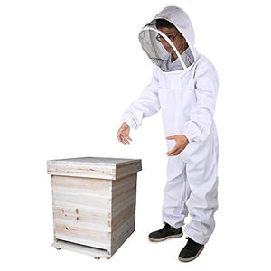 For Person No Taller than 5 9 DGCUS Professional Cotton Full Body Beekeeping Suit with Self Supporting Veil Hood