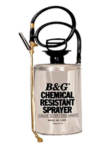 "B & G Equipment 12013900 Stainless Steel Chemical Resistant Sprayer, 2 gals, Fan Tip, 18"" Brass Extension, 40"" Hose, Funnel Top, Chemical Resistant Hose, Stainless Steel/Brass"