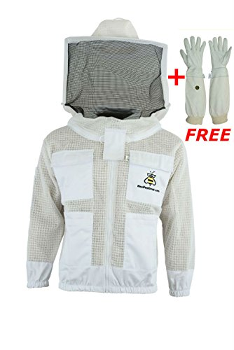 Bee Suits 3 Layer safety Unisex White Fabric Mesh Beekeeping Jacket Beekeeping Veil Bee Protective Clothing Beekeeping Protective Ventilated Bee Round Veil (L)