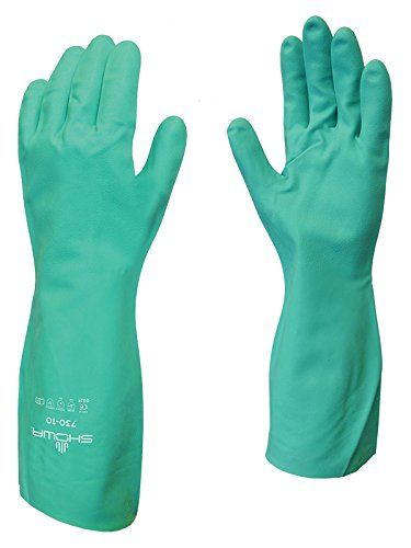 SHOWA 730 Nitrile Cotton Flock-lined Chemical Resistant Glove, Large (Pack of 12 Pairs)