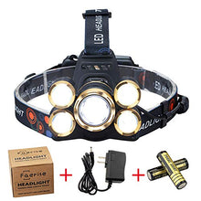 Load image into Gallery viewer, NEWEST Headlamp 12000 Lumen CREE LED Work Headlight with 18650 Rechargeable Batteries, 4 Modes IPX4 Waterproof Zoomable Head Lamp Best Head Lights for Camping Cycling Hiking Hunting