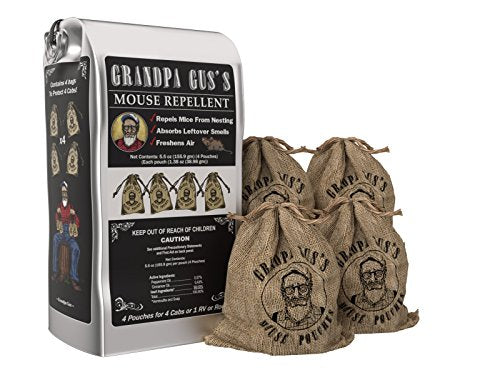 Grandpa Gus's Natural Peppermint Oil Mice Repellent Pouches (4 Pack)