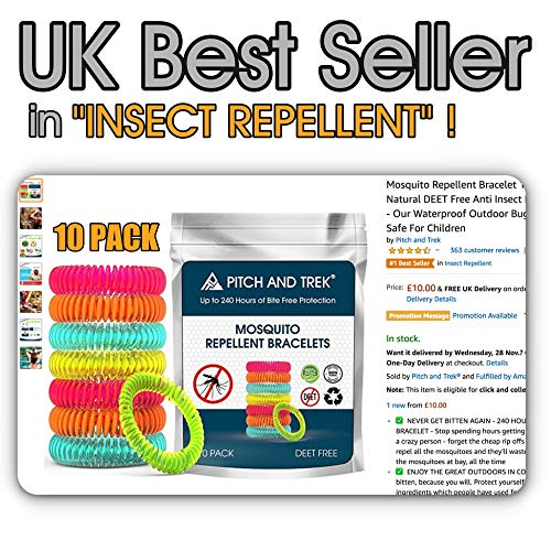 Pitch and Trek Mosquito Repellent Bracelet, Citronella All Natural  DEET-Free (10 Pack)