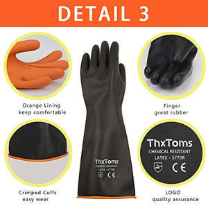 "ThxToms Heavy Duty Chemical Resistant Latex Gloves, 14"" (1 Pair)"