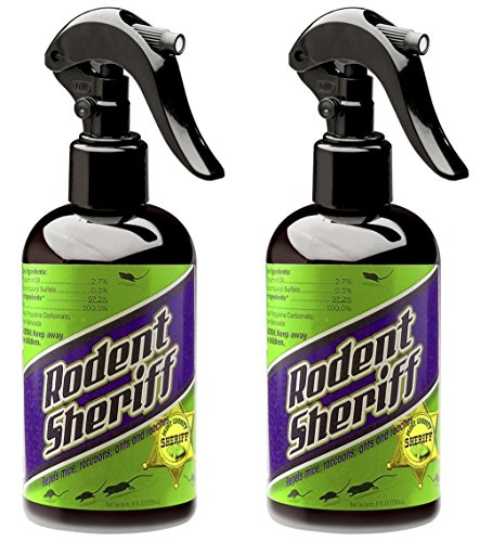 Rodent Sheriff All-Natural Pest Control Spray, Pure Mint Formula Repels Rats, Mice, Racoons, Roaches, And Ants (8 oz. Bottle, 2 Pack)