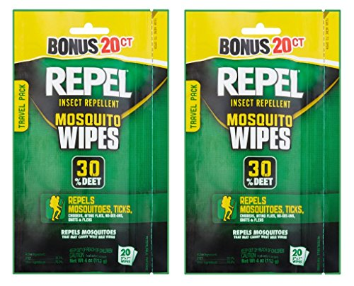Repel 94100 Sportsmen 30-Percent Deet Mosquito Repellent Wipes (2 Packs of 20 Wipes)