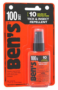 Bens Tick & Insect Repellant 100 Deet, 1.25 Oz Pump Carded (37ml, 6 Pack)